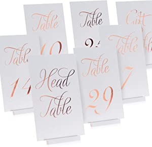 Gorgeous Elegant Rose Gold Wedding Table Numbers in Double Sided Rose Gold Foil Lettering with Head and Gift Table Card - 4 x 6 inches and Numbered 1-30 - Perfect for Weddings and Events