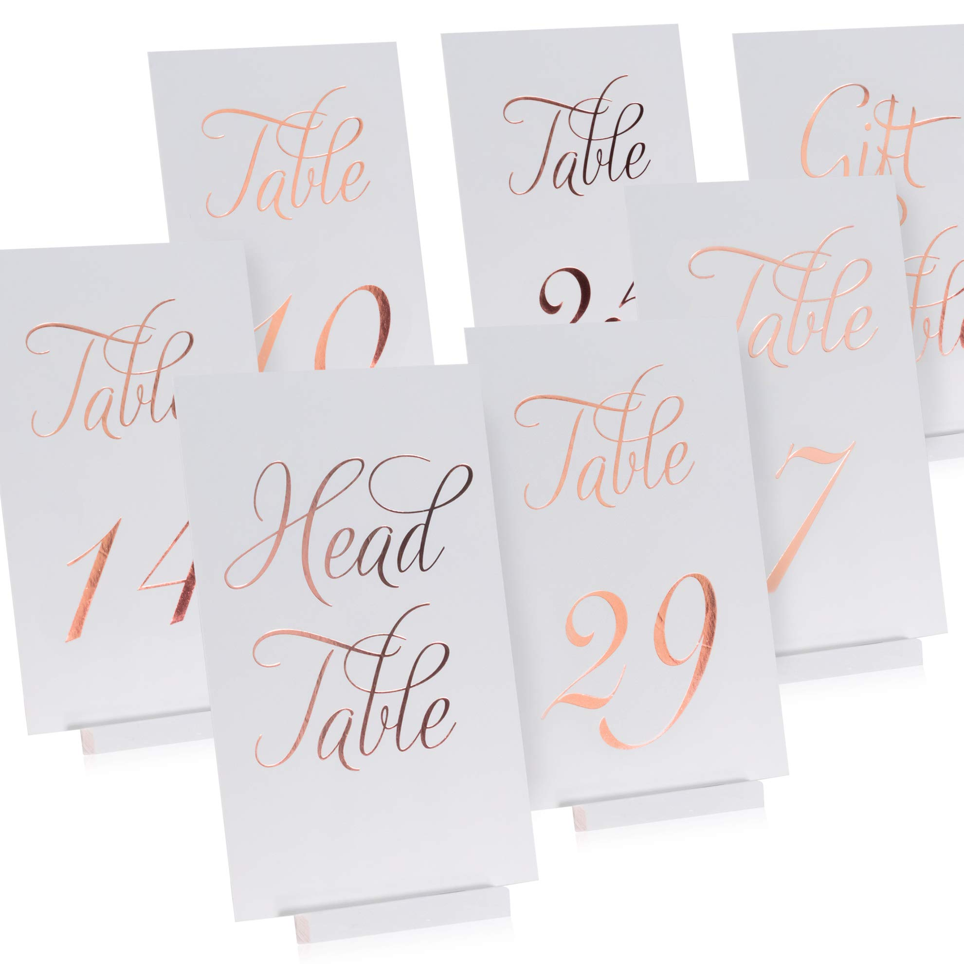 ZICOTO Elegant Rose Gold Wedding Table Numbers in Double Sided Rose Gold Foil Lettering with Head and Gift Table Card - 4 x 6 inches and Numbered 1-30 - Perfect for Weddings and Events