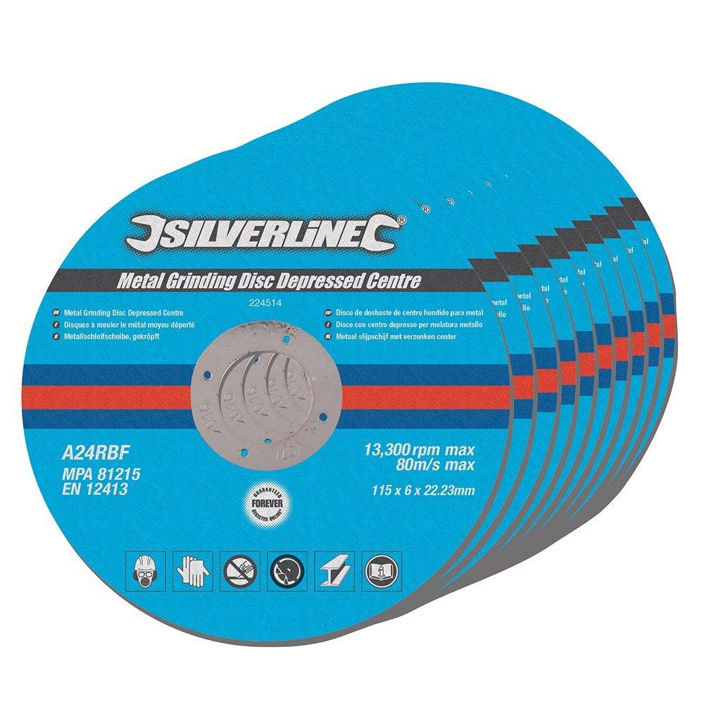 Silverline 224514 Metal Grinding Discs Depressed Centre, 115 x 6 x 22.2 mm - Pack of 10 SLTL4