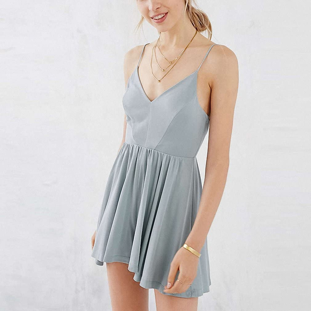 Womens Sleeveless V Neck High Waist A-line Dress Ruffle Backless Dress