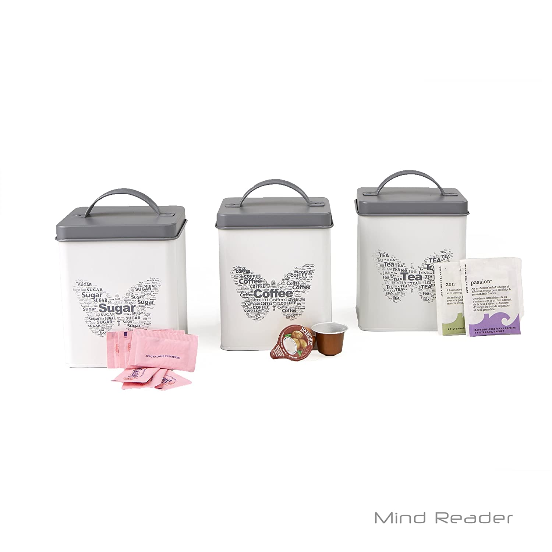 Mind Reader STCAN3-WHT Sugar Tea Coffee Metal Canister Set White Handle
