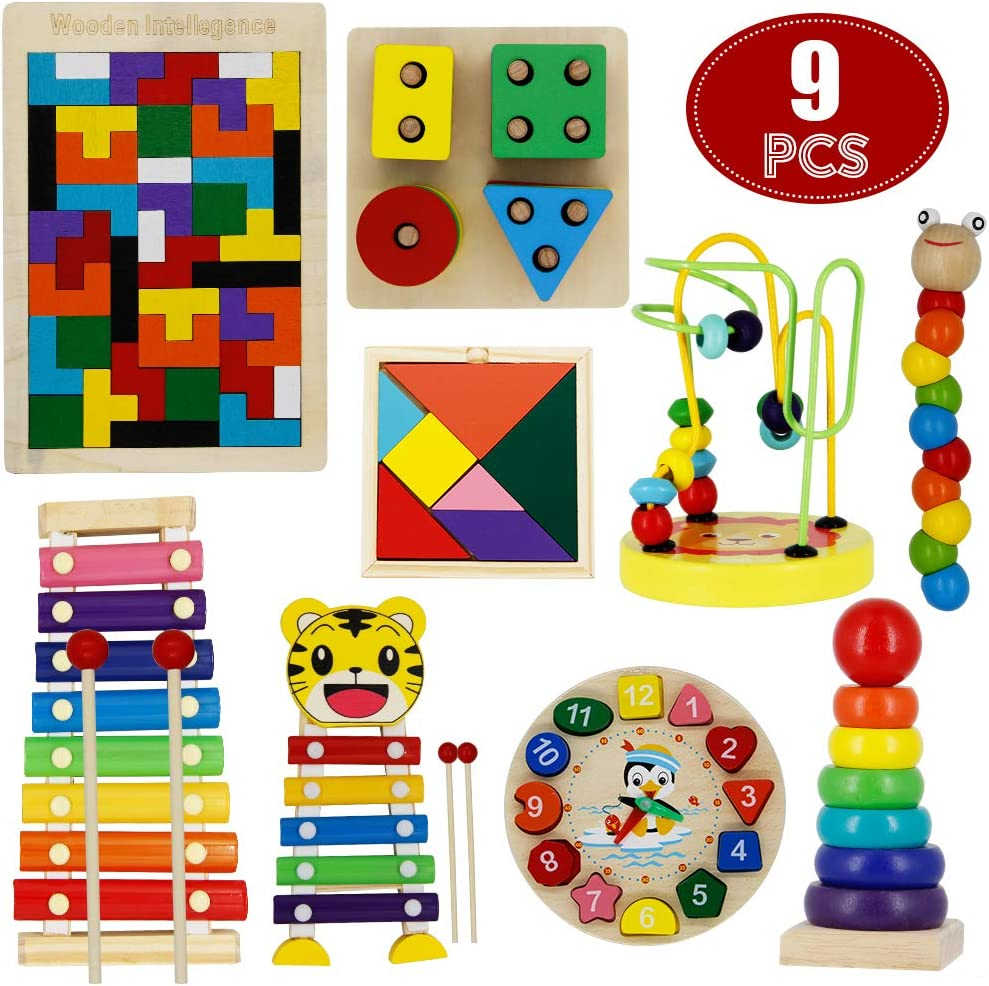 MorTime 9PCS Preschool Education Toys Set, Wooden Stacking Sorting Puzzles Rainbow Stacker Musical Instruments, Learning Color Shape Number Early Intelligence Development Toys for Boys and Girls