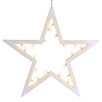 Weihnachtsdeko Led Stern.20 Led Dekoleuchte Stern Leuchtfarbe Warmweiß Rahmen Hellgrau Batterie Lichterstern Weihnachtsstern Dekobstern Fensterdeko Fensterschmuck