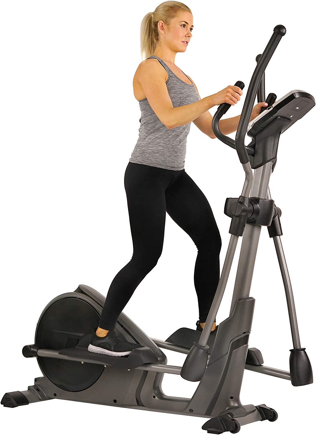Sunny Health Fitness Magnetic Elliptical Trainer Machine w Tablet Holder, Programmable Monitor and Heart Rate Monitoring, 330 LB Max Weight – SF-E3912