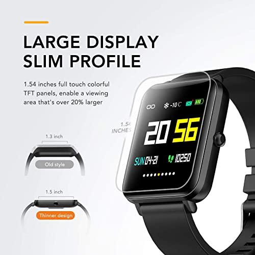 Foronechi Smart Watch for Android Samsung iPhone, Activity Fitness Tracker with IP68 Waterproof for Men Women, Smartwatch with 1.54 Full-Touch Color Screen, Heart Rate Sleep Monitor, Black