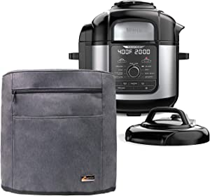 Q-Smile Pressure Cooker Cover with Two Compartment Compatible with Ninja Foodi Pressure Cooker 6.5 Quart, Grey