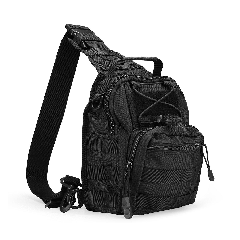 ProCase Tactical Sling Bag Pack with Pistol Holster, Military Army Shoulder Bag Satchel Backpack Outdoor Range Bag Daypack Backpack for Hunting, Camping and Trekking by ProCase
