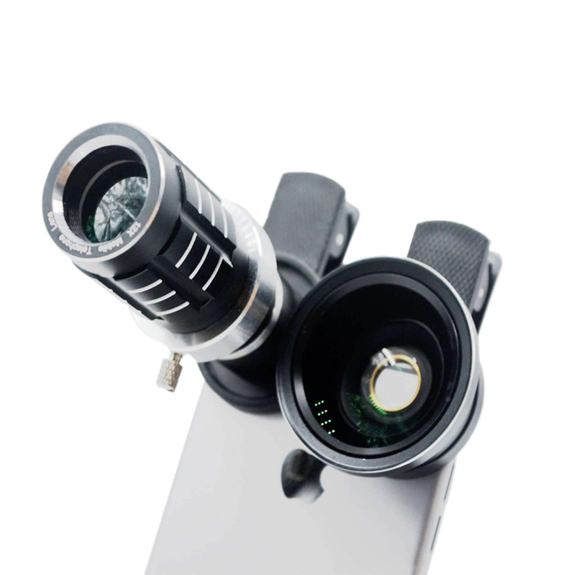 Xorastra Professional HD 12X Telephoto Telescopic Lens w/0.45 SLR Wide Angle Macro Camera Universal Clip-ons Lens Kit Military Grade Build for iPhone & Smartphones (Blk)
