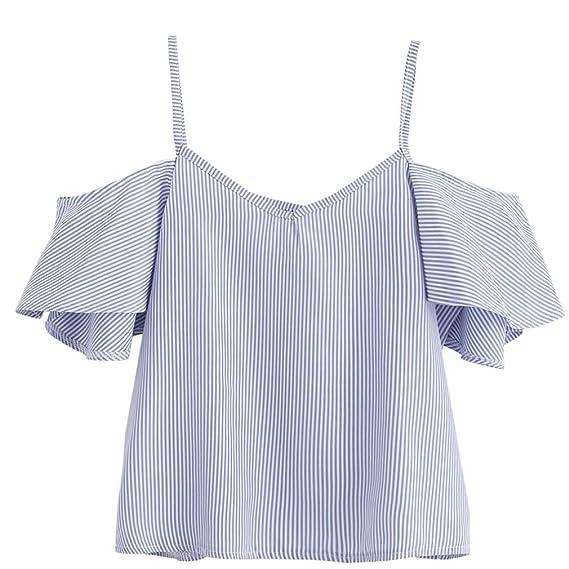 Camisetas Para Mujer, FAMILIZO Moda Mujeres Verano Blusa Pinstripe Tops de hombro T-Shirt