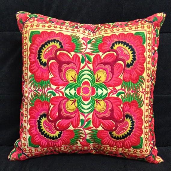 Batik Throw Pillow Cover  Indigo Cushion Cover 18x18 Hmong Cushion Hill Tribe Cushion Rare Hill Tribe Hemp Cushion Blue White Striped