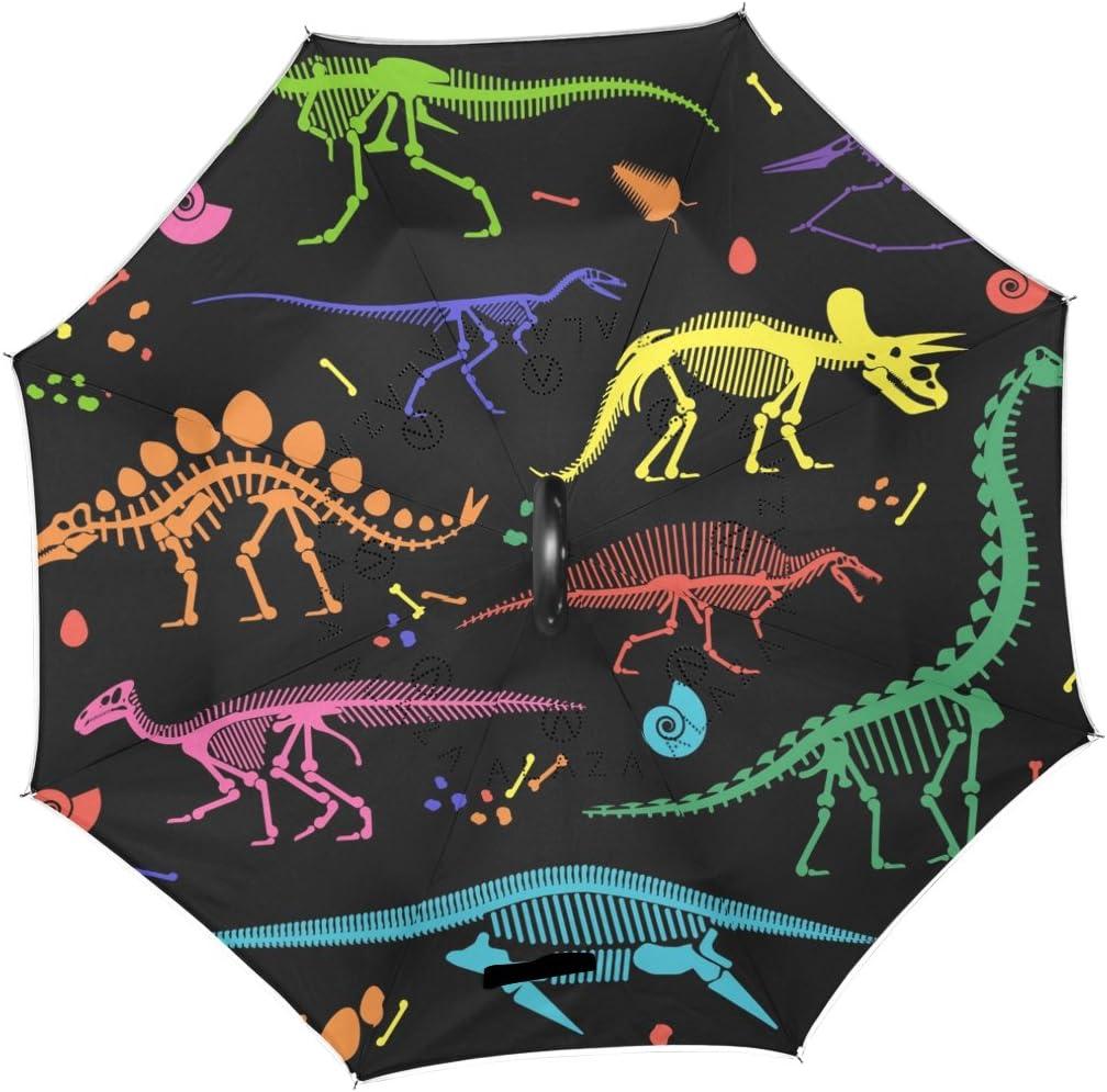AHOMY Inverted Reverse Umbrella Color Dinosaur Skeleton Windproof for Car Rain Outdoor