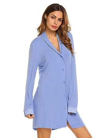 586cf4b150c3 Ekouaer Nightgowns for Women Button Down Sleepshirts Long Sleeve Nightshirt  (A-Blue