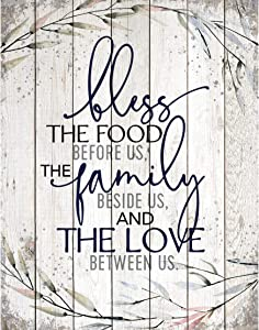 Wood Plaque Inspiring Quote 11.75x15 - Vertical Frame Wall Hanging Decoration | Bless The Food Before us, The Family Beside us, and The Love Between us. | Christian Family Religious Home Decor Saying