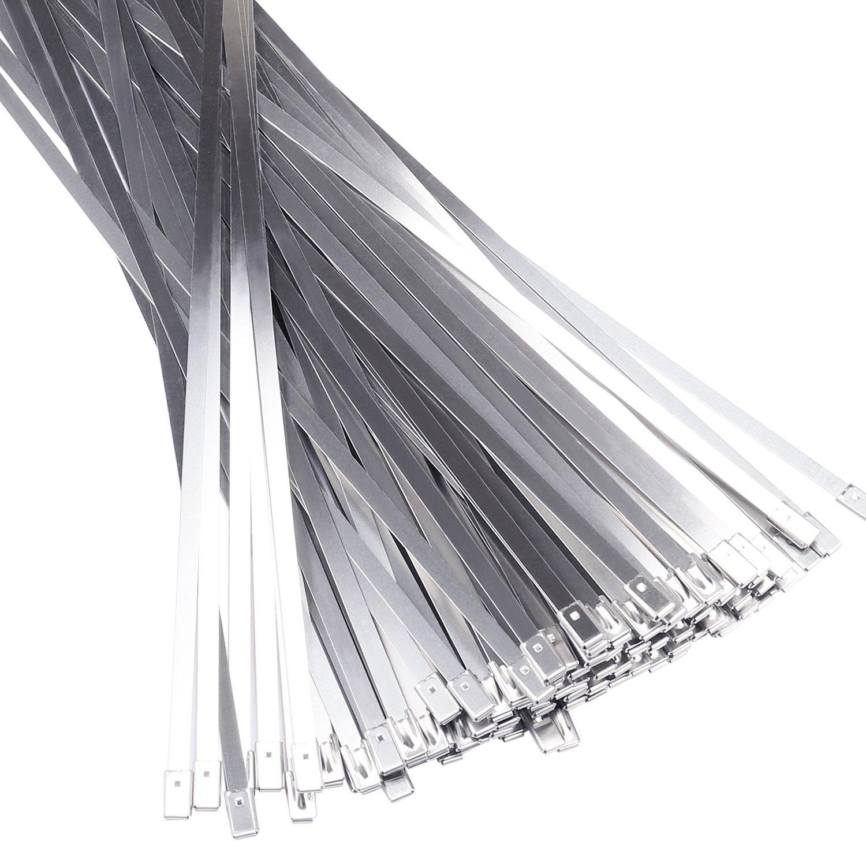 Zip Ties 12'' 100pcs Stainless Steel Zip Tie Self Lock Cable Ties Exhausted Wrap Coated Locking Ties Outdoor Metal Zip Ties Fence Strap Lines Multi-purpose Locking Cable Zip Tabs Aprince