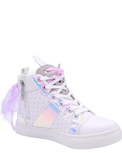 Olivia Miller Girls Unicorn High Top Sneaker,White,2