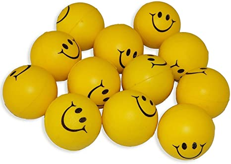 ToyStack Smiley Face Squeeze Balls for Stress Relief and Playing (Yellow) Pack of 10