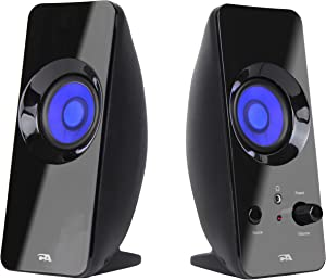 Cyber Acoustics 2.0 Lighted Bluetooth Speaker System - USB or AC Powered, Home Audio for Laptop, PC Computer, Tablet, Smartphone and iPod (CA-2806BT)