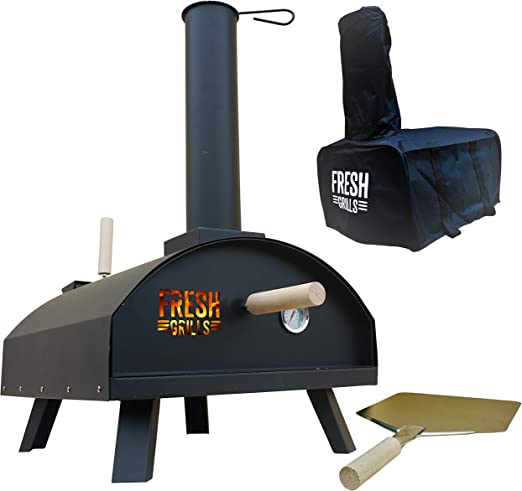 Fresh Grills Outdoor Pizza Oven Portable Wood Fired Bbq Pizza Maker With Thermometer Raincover And Accessories