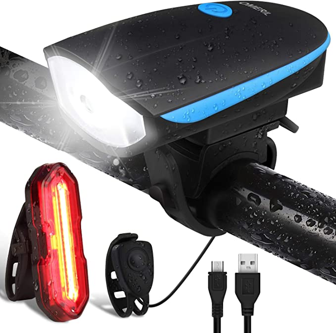 OMERIL Luz Bicicleta Recargable USB, Linterna Bicicleta Impermeable con Luz Bicicleta Delantera, Campana y Luz Trasera Bicicleta, Luz LED Bicicleta para Carretera y Montaña - Seguridad para la Noche