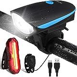 OMERIL Luz Bicicleta Recargable USB, Linterna Bicicleta Impermeable con Luz Bicicleta Delantera, Campana y Luz Trasera…