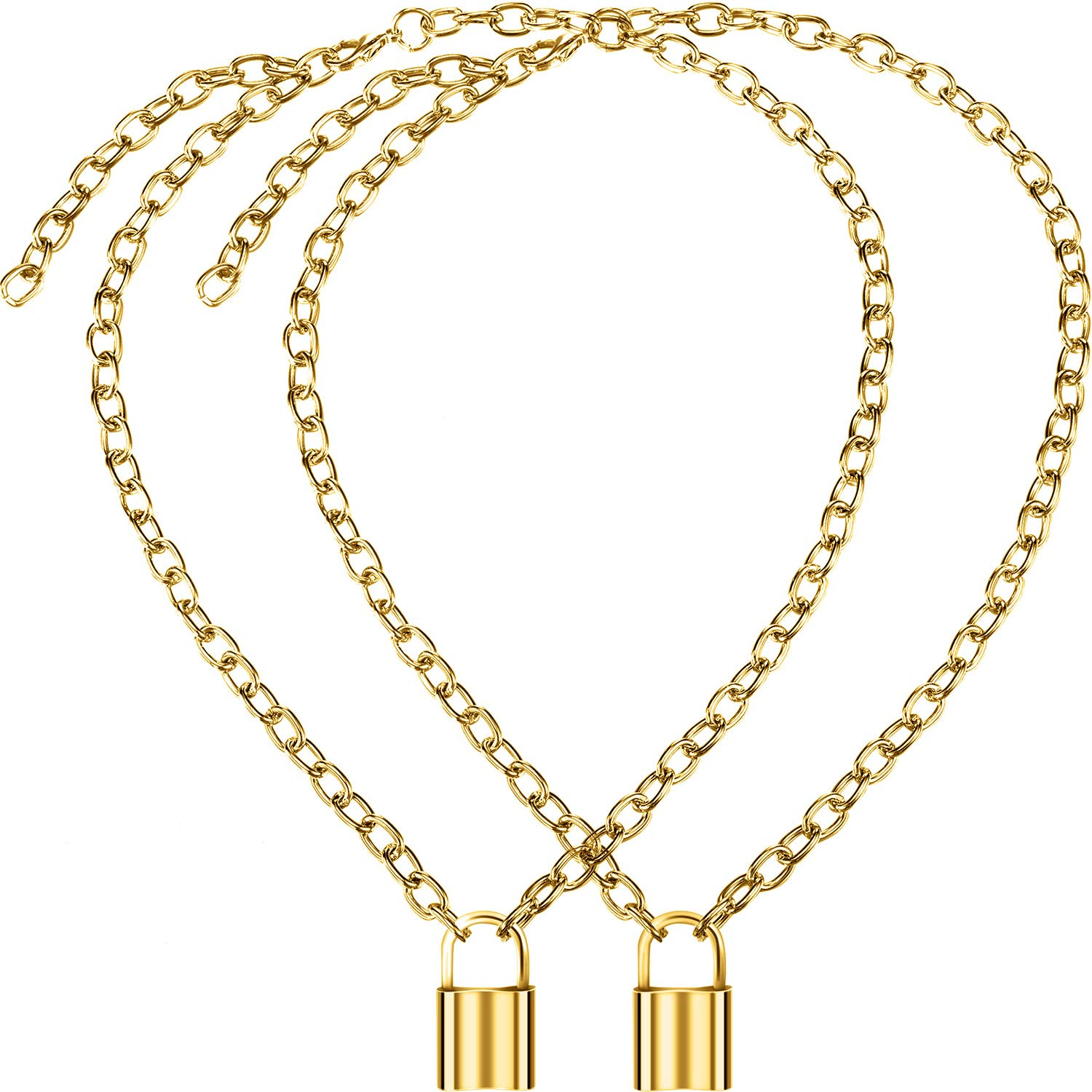 756f603558f Yaomiao 2 Pack Y Lock Pendant Necklace Simple Chain Necklace Lock Chain  Jewelry Long Multilayer Chain Women Girls Gift