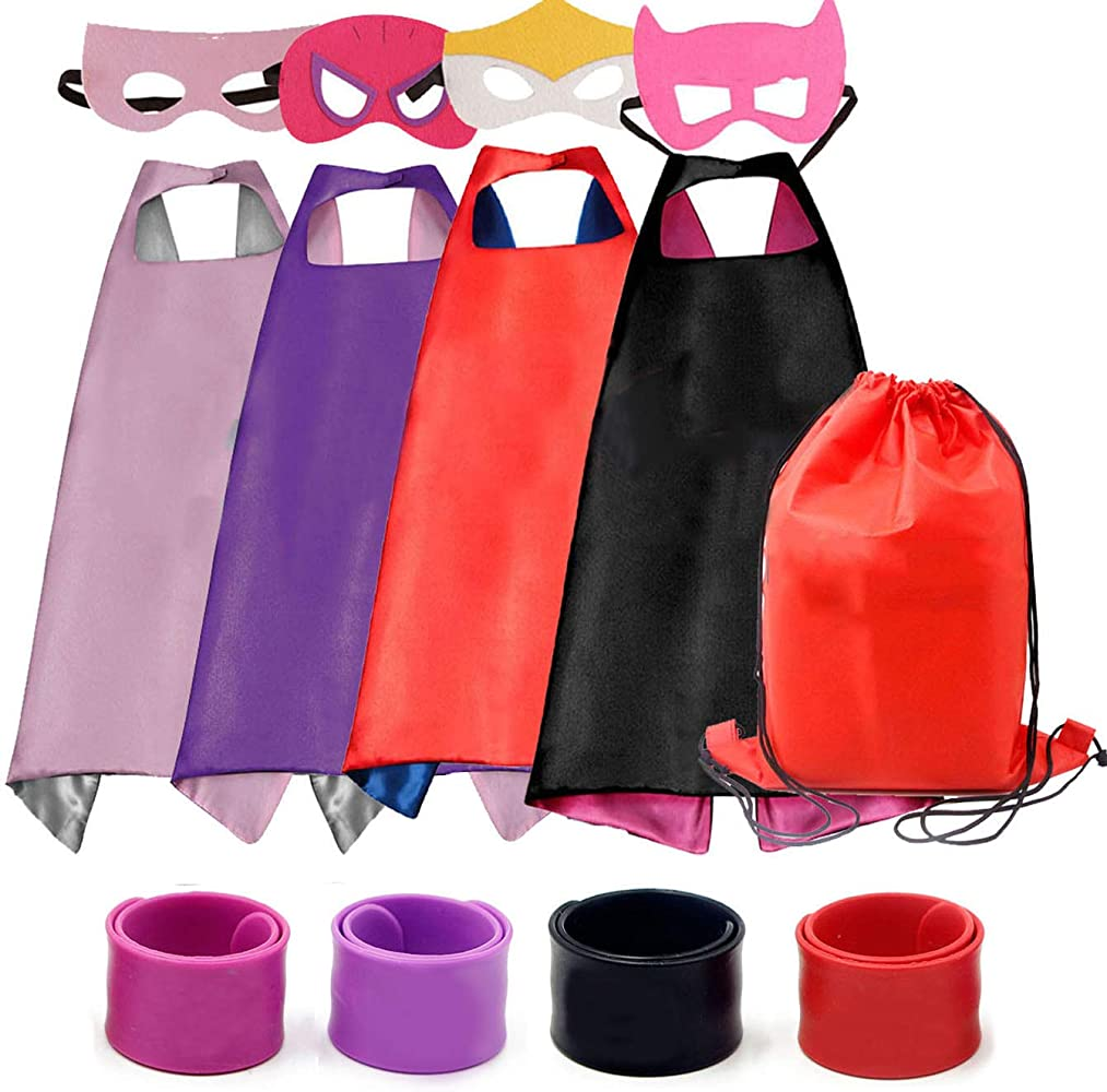 8de52aac01cd Dress up Costume Cape and Mask Set with Drawstring Backpack for Kids,  Birthday Party Children