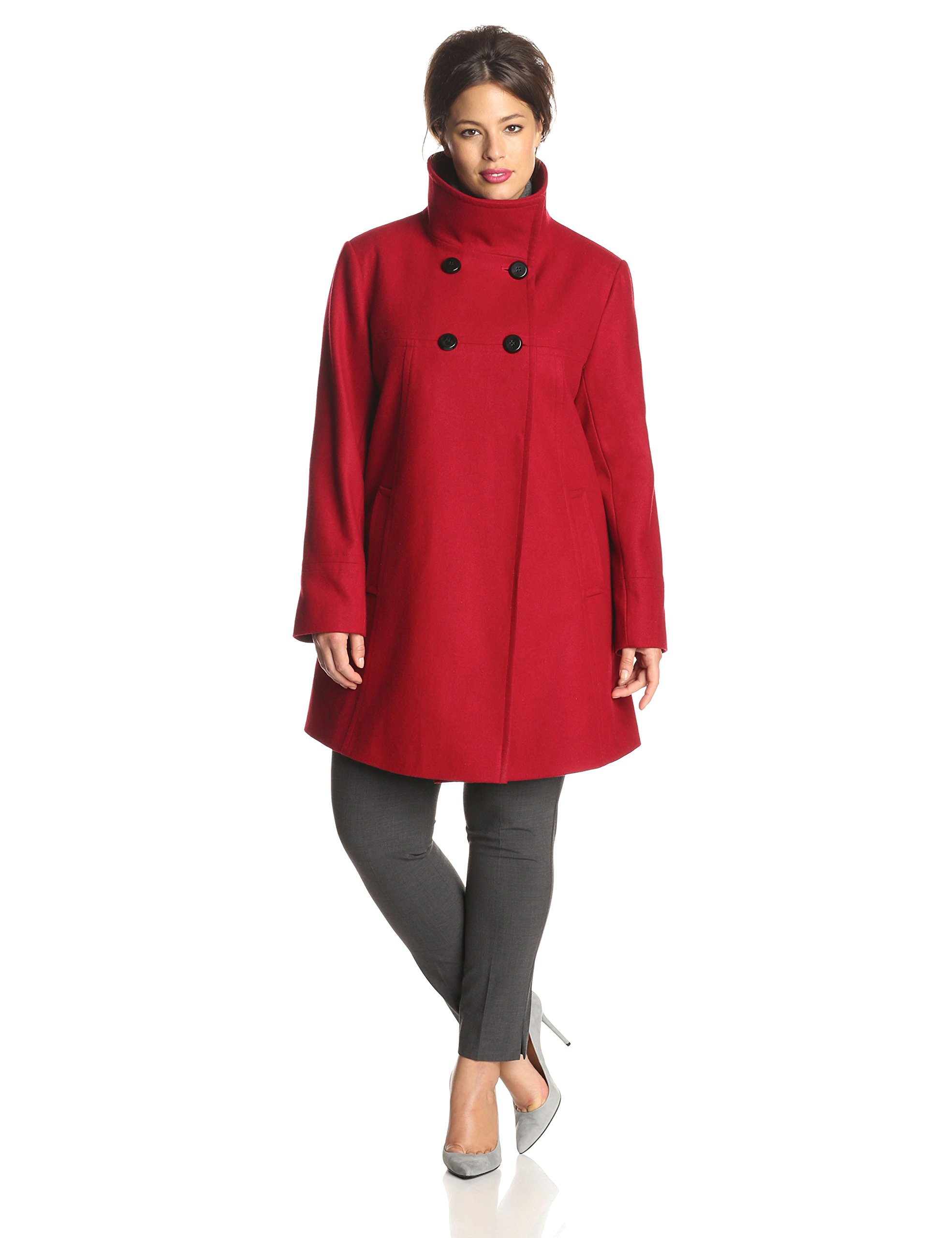Larry Levine Women's Plus-Size Double-Breasted Plush Coat, Red, 1X