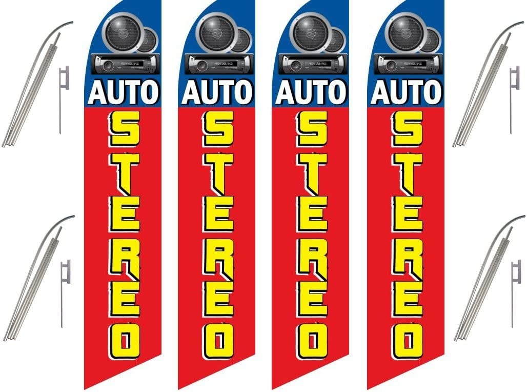 Pack Swooper Flags /& Pole Kits AUTO STEREO Red Yellow Blue with Pic Four 4