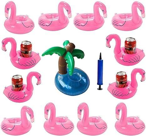 iLoveCos Flamenco 12 Piezas Floats Flamingo y 1*árbol de Coco ...