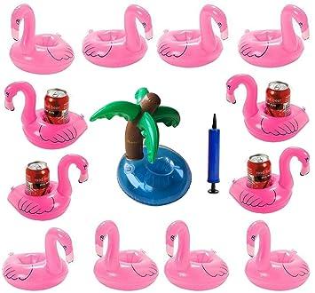 iLoveCos Flamenco 12 Piezas Floats Flamingo y 1*árbol de Coco Palmera Flotador y1 Bomba de Aire Hinchable Decoraciones la Fiesta de la Piscina (14 Piezas): ...