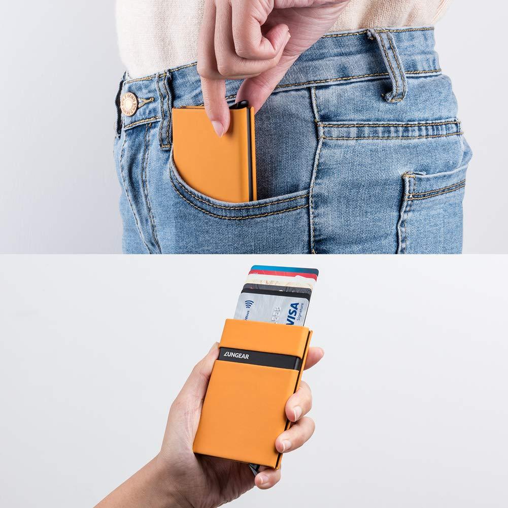 Marron LunGear Porte Cartes de Credit Anti Piratage,Slim Porte Monnaie RFID Blocage et Automatique Pop-up pour 7 Cartes,Minimaliste Portefeuilles /él/égant en M/étal pour Voyager