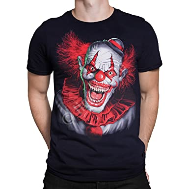 Liquid Blue Scary Clown Black T Shirt Halloween Horror Amazon Co