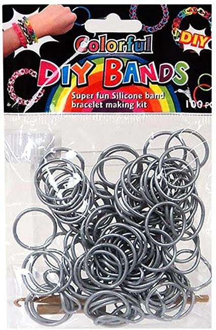 DIY Bands 100 Count Silver Refill bands with Clips and Loom tool