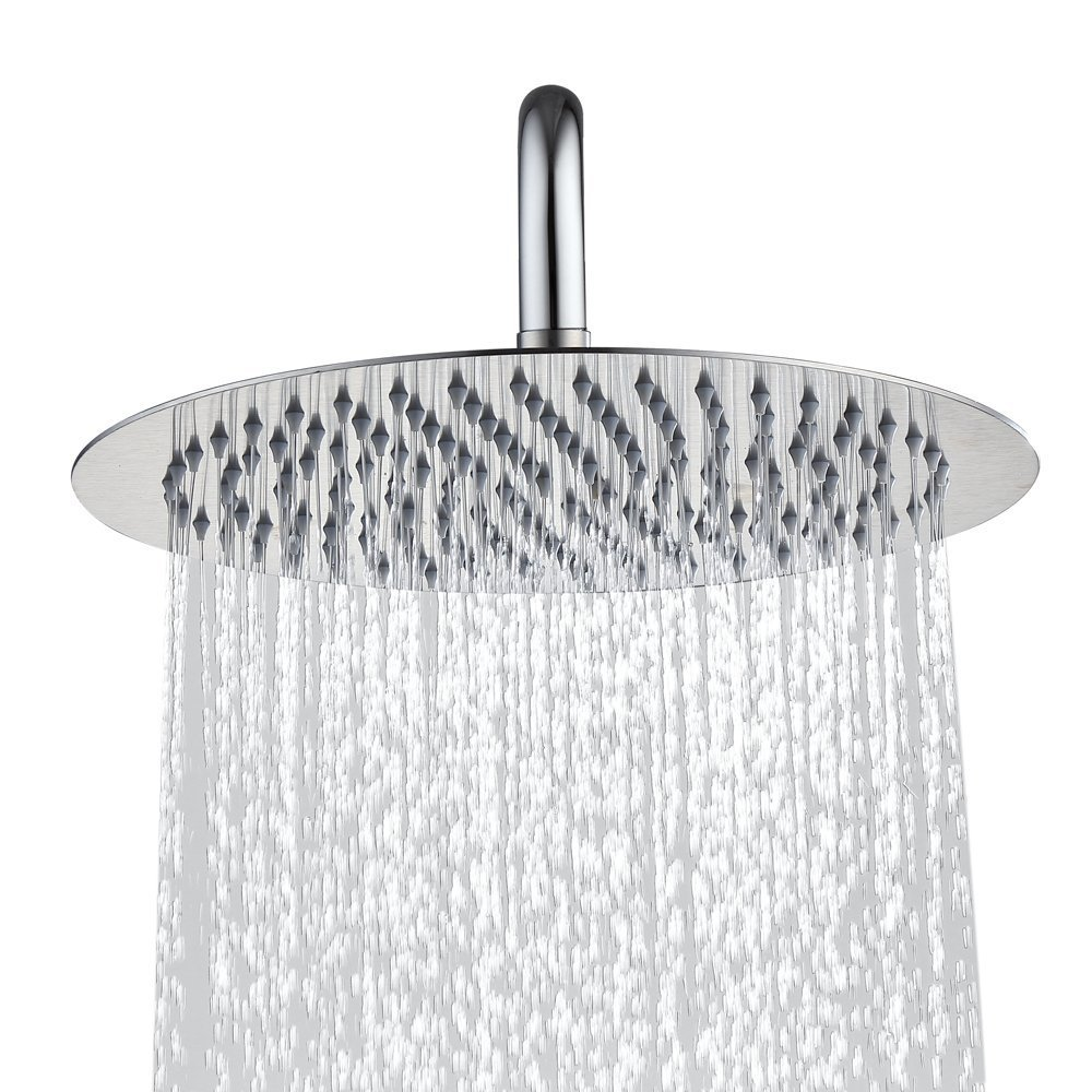 Derpras Round Rain Shower Head, 304 Stainless Steel, Ultra Thin Powerful High Pressure Top Spray Bathroom Rainfall Showerhead(Brushed Nickel) (12 Inch,168 Jets)