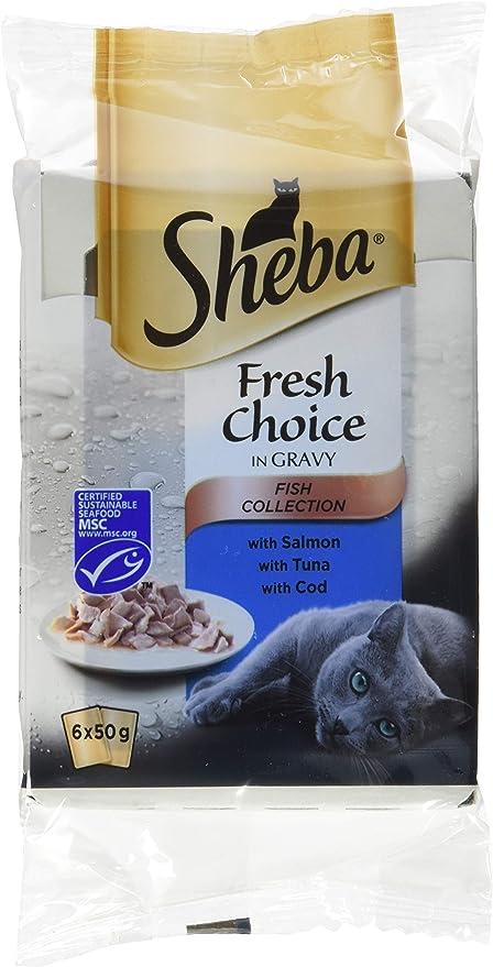 Sheba Fresh Choice - Pienso para Gatos, de Pescado, 6 Bolsas de 50 ...