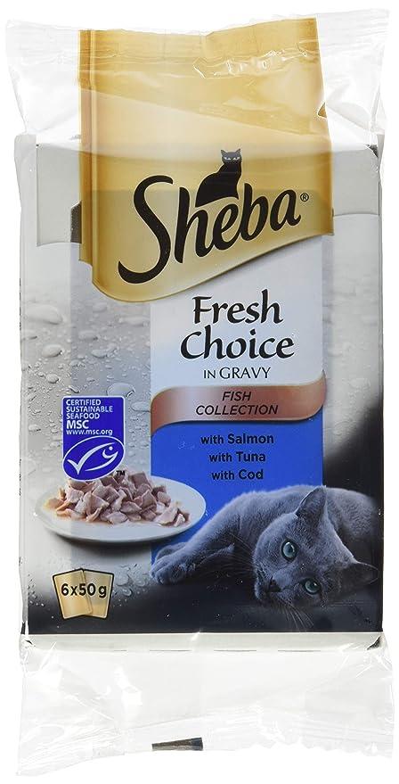 Sheba Fresh Choice - Pienso para gatos, de pescado, 6 bolsas de 50 g
