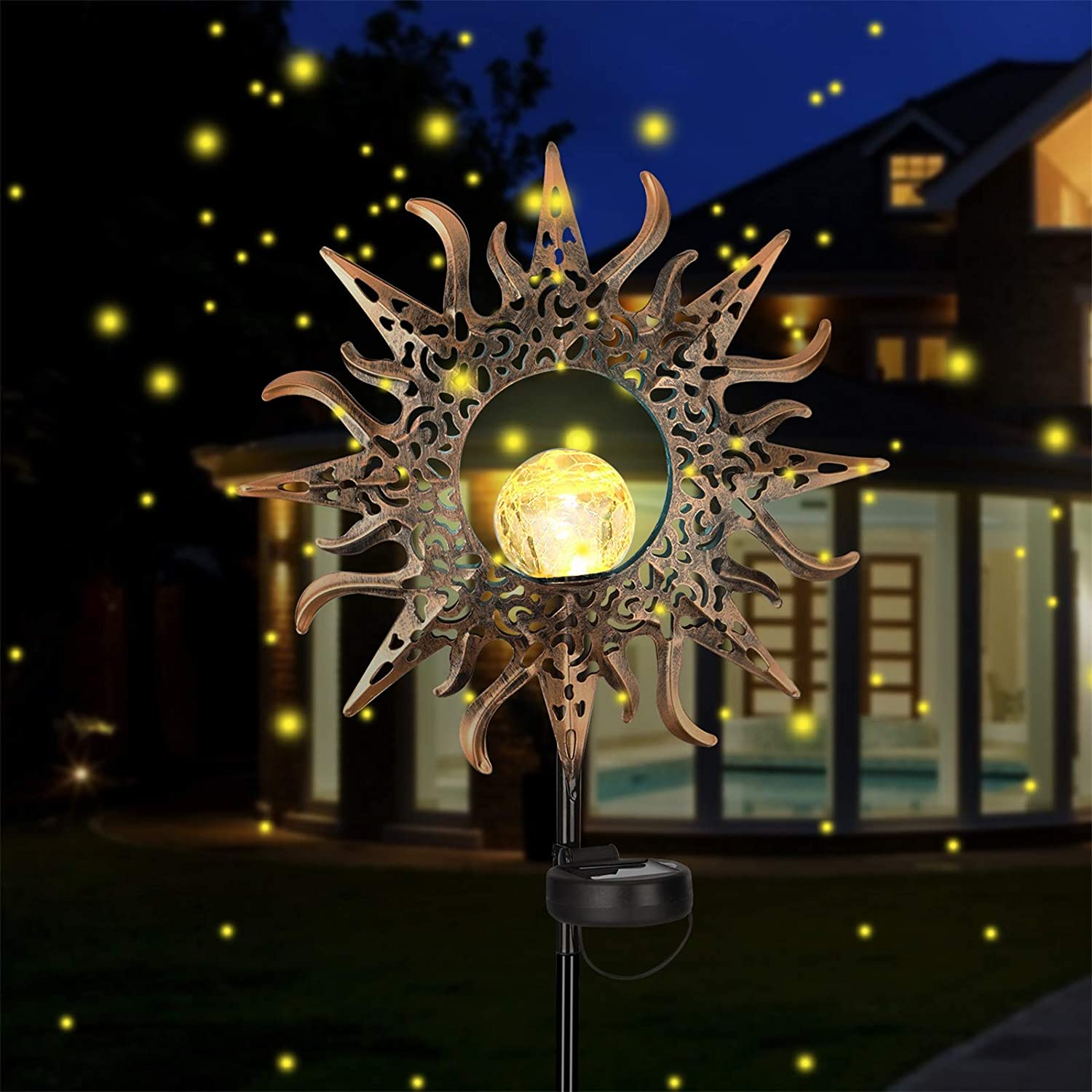 Maxuni Sun Solar Lights Outdoor Sun Decorative Stakes Cracked Glass Globe Garden Lights Solar Powered, Waterproof Metal LED Lights for Garden, Yard, Lawn, Patio