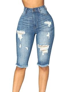 2ab43655ec6 Azokoe Womens Summer Casual Denim Ripped Destroyed Bermuda Shorts Jeans  Pants(S-XXL)