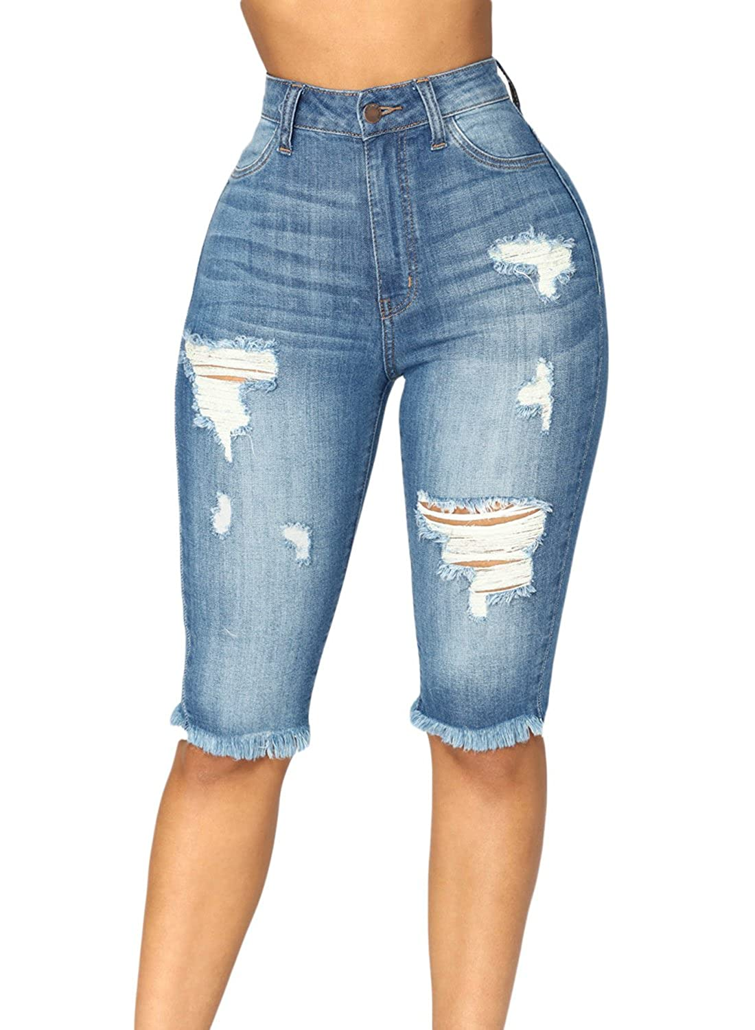 Azokoe Womens Summer Casual Denim Ripped Destroyed Bermuda Shorts