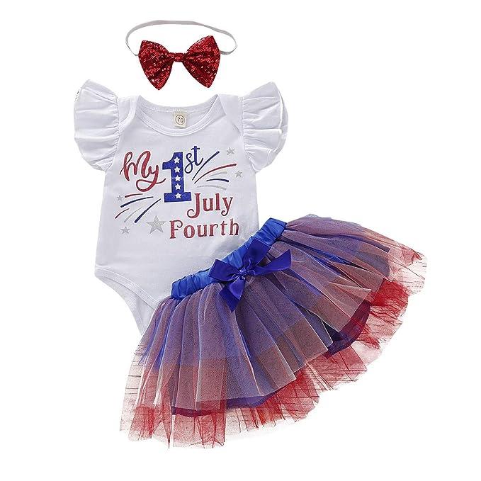 Amazon.com: BULINGNA 3 piezas bebé niña de 4 de julio traje ...