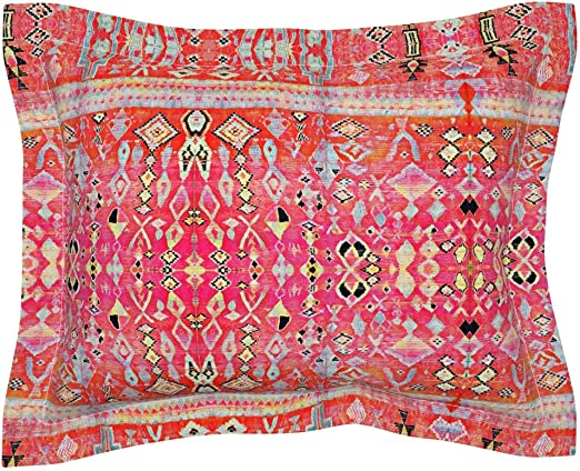 Kilim Moroccan Indian Indie Boho Ethnic Pink Abstract Pillow Sham by Roostery