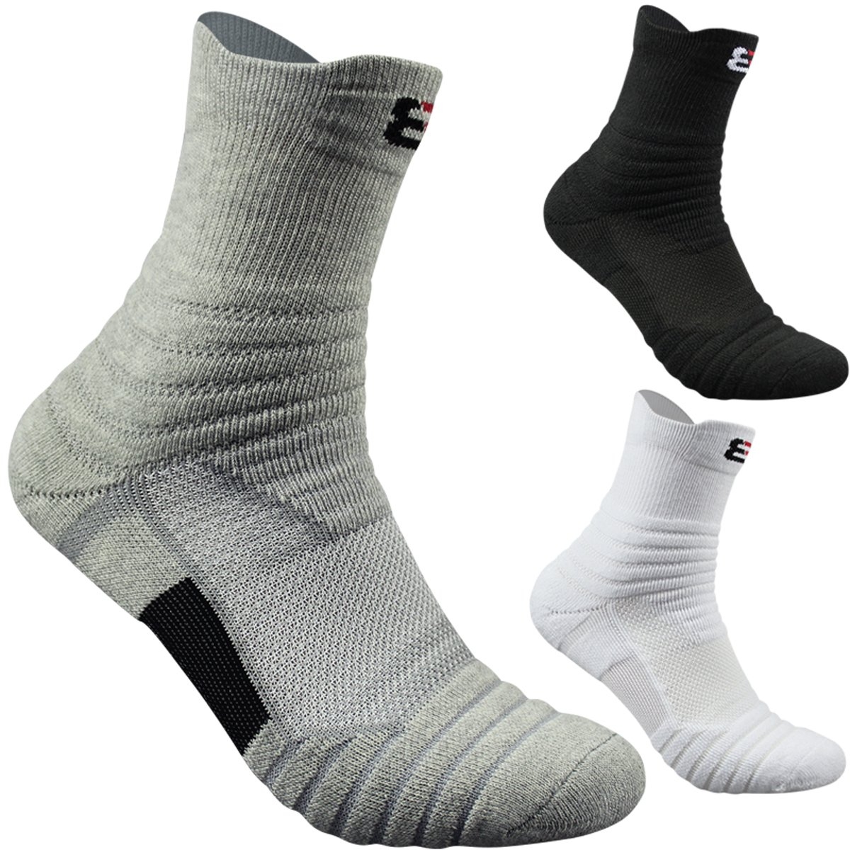 3-Pack Men's Athletic Cushion Quarter Ankle Sock Performance Cotton Compression Sport Basketball Arch Support Socks,Size 6-12 (Mulitcolor A)