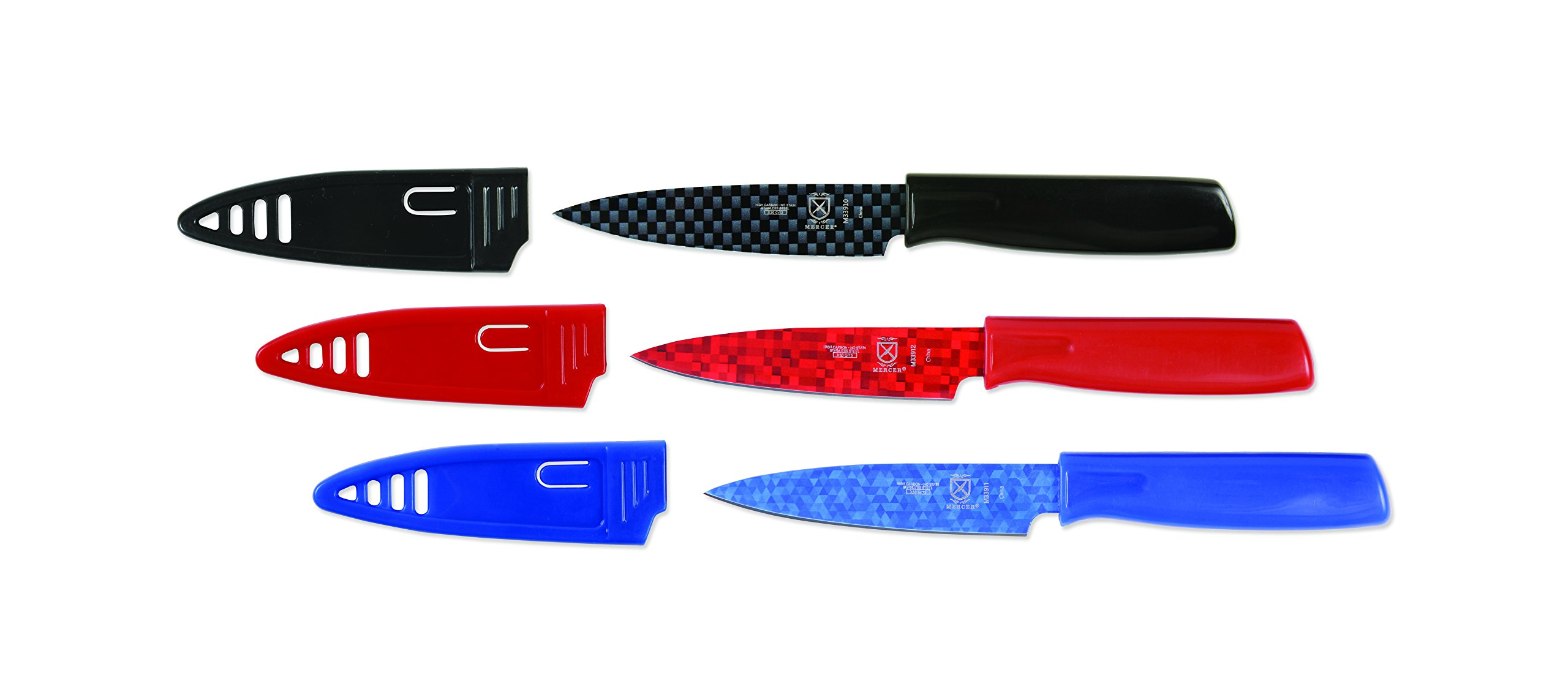 Mercer Culinary Non-Stick Paring Knives with ABS Sheaths, 4 Inch, Red/Blue/Black, 3 Pack by Mercer Culinary