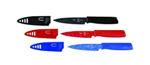 Mercer Culinary Non-Stick Paring Knives with ABS Sheaths, 4 Inch, Red/Blue/Black, 3 Pack