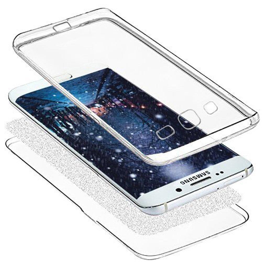 Uposao Coque pour Huawei P9 Coque 360 Degr/é Int/égral Avant et arri/ère Full Body Coque Etui Glitter Brillant Paillette Coque Ultra-Mince Transparent Silicone Souple TPU Case Huawei P9,Argent