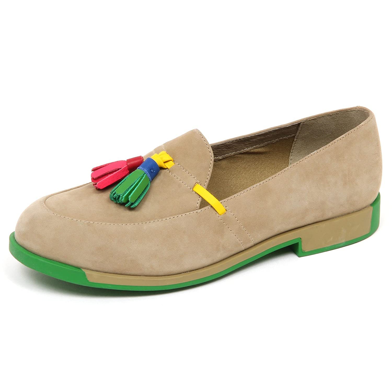 Camper Shoe E6104 Without Box) Mocassino Donna Beige/Green Twins Loafer Shoe Camper Woman Beige/Verde ea0538