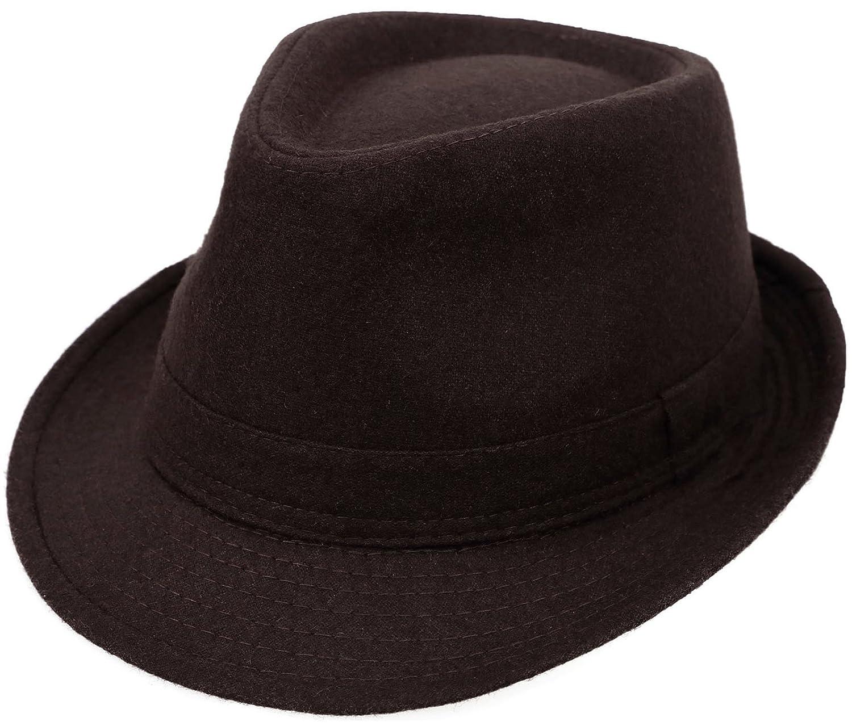 EPGM Fedora Hat Women/Men's Classic Short Brim Manhattan Gangster Trilby Cap Black