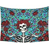 "ADEDIY Fashion Custom Sugar Skull Rose Cotton Linen Tapestry Wall Decor Living Room Art DIY 60""x 80"""