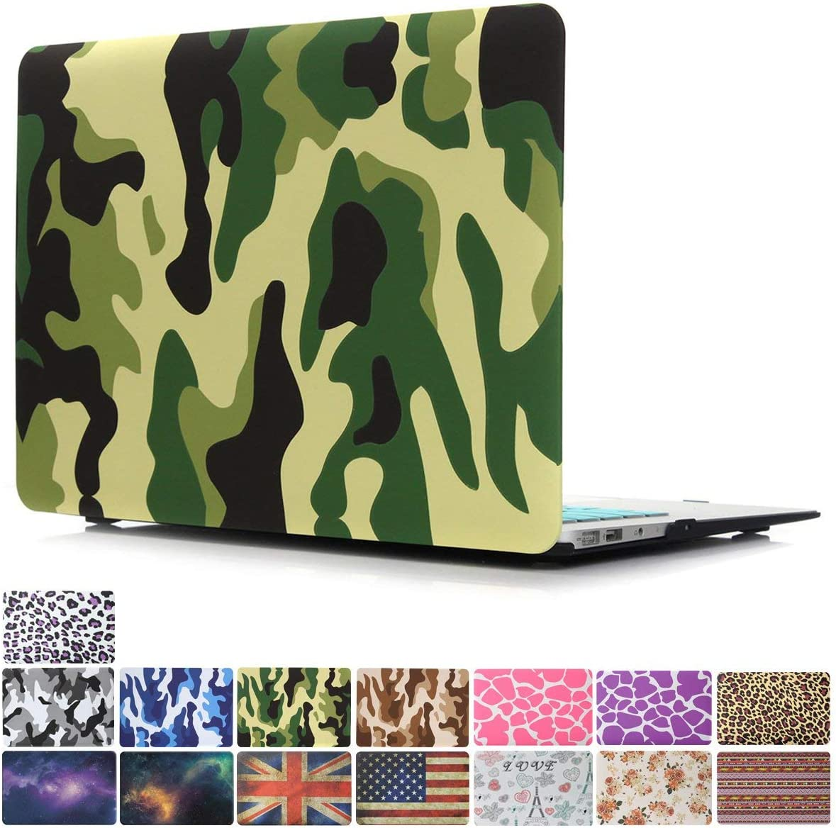"""MacBook Air 13"""" Case, PapyHall MacBook Pro Case Color Printing Plastic Coated Hard Shell Protective Case Cover for 2010-2017 Ver MacBook Air 13 inch Model: A1369/A1466(NO Touch ID) - Camouflage Green"""