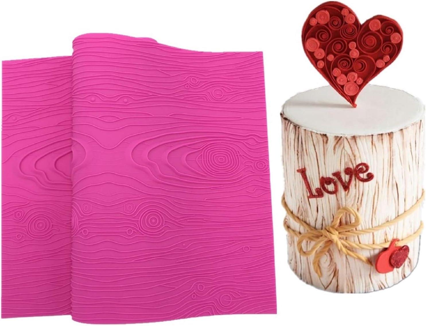 Kulepin Woodgrain Lace Silicone Mold Fondant Wooden Impression Lace Mat DIY for Cake Decorating